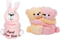 Gungun Toys Pink And Cream Couple Bear & Pink Rabbit Pen Stand  - 20 Cm (Pink, Cream)