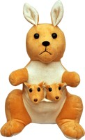 Tabby Toys Cute Kangaroo With Two Babies In Pouch  - 27 Cm (Brown)