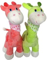 SCG Cute Big Combo Giraffe Soft Toy,High Quality  - 65 Cm (Pink, Green)