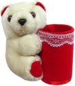 Tickles Pen & Pencil Holder Teddy  - 4 Inch - Red, White