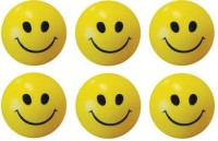 M Plus Smiley Face Squeeze Stress Ball - Set Of 6  - 3 Inch (Yellow, Black)