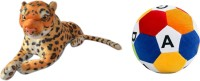MGPLifestyle Combo Of Leopard Soft Toy & ABCD Ball  - 10 Cm (Multicolor)