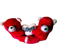 VRK Couple Teddy Bear With Heart  - 17 Inch (Red)