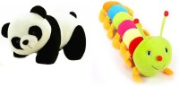 Deals India Deals India Panda Soft Toy (26 Cm) And Multicolor Caterpillar (55 Cm) Combo  - 55 Cm (Multicolor)