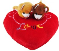Anukriti Creations Valentines Soft Dog Couple On Blooming Red Heart  - 30 Cm (Multicolor)