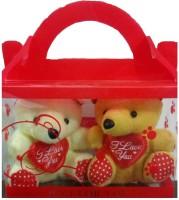 Ekku Combo Of 2 Cute Teddy Key Chains  - 4 Inch (Beige, Yellow)