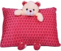 E Soft Red Fancy Pillow With Teddy Hanging  - 4 Inch - Red