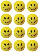 M Plus Smiley Face Squeeze Stress Ball - Set Of 12  - 3 Inch (Yellow, Black)