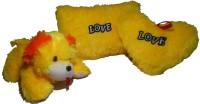 De Hoy-Hoy Set Of 3 Heart Shape Love Soft Tickle Cushion Pillow Dog Teddy Bear Valentine Love Gift  - 30 (Yellow)