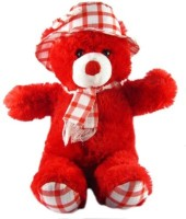 Golly Jolly Teddy With Checks Cap Perfect Gift For Everyone  - 20 Inch (Red)