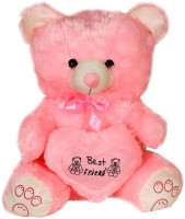 Deals India 1.5 Feet Sitting Teddy With Heart  - 18 Inch (Pink)