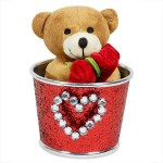Archies Soft Toys Archies Huggable Teddy In Bucket 5.46 inch