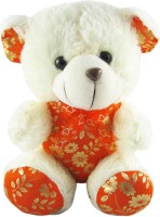 Tabby Beautiful Dressed Teddy Bear  - 16 Inch (White, Orange)
