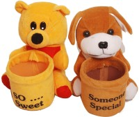 Atc Toys Dog Soft Toys Pen Stand - Set Of 2  - 7 Cm (Yellow, Brown)