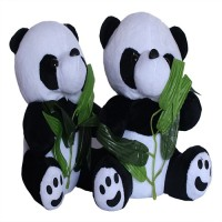 Chinmayi Cute Combo Panda With Leaves Plush Toy  - 20 Cm (White, Black)