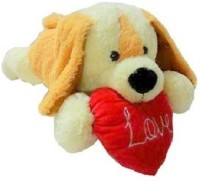 Fun&Funky Laying Dog With Heart  - 20 Inch (Brown, Red)