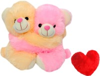 Saugat Traders Teddy Couple With Heart - 8 Inch (Pink, Yellow)