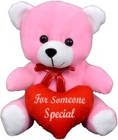 FunnyLand Teddy Bear With Heart Pink 20cm Caption For Someone Special  - 20 Cm (Pink)