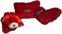 De Hoy-Hoy Set Of 3 Heart Shape Love Soft Tickle Cushion Pillow Dog Teddy Bear Valentine Love Gift  - 35 Cm (Red)