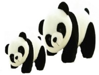 Arthr Cute Soft Toys Panda Mom & Kid  - 30 Cm (White, Black)