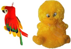 Deals India Set Of Musical Duck N Parrot Soft Toys - 30 cm