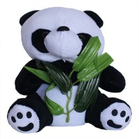 Chinmayi Attractive Panda With Leaves Plush Toy  - 20 Cm (White, Black)