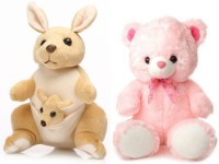 Tabby Cute & Soft Teddy Bear And 1 Kangaroo With One Kangaroo Kids Combo  - 35 Cm (Brown, Pink)
