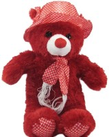 Gifts & Arts Cap Teddy Stuffed Plush Soft Toy Kids  - 14.17 Inch (Red)