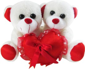 Tabby Couple Teddy Bear Holding a Heart  - 20 cm