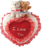 Tickles Cute Couple Teddy Sitting On Heart - 20 Cm (Red, White)