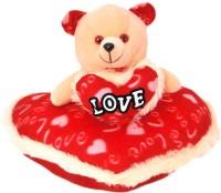 Demkas Red & Orange Teddy Bear In Love Presenting Heart  - 10 Cm (Multicolor)