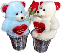 Luxury Gifts By Nikki Valentine's Adorable Close Couple Teddy Bears - 6 Inch (Blue, White)