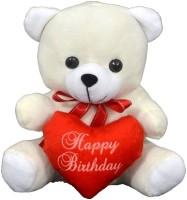 FunnyLand Teddy Bear With Heart White 20cm Caption Happy Birthday  - 20 Cm (White)