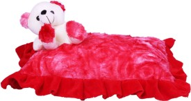 E Soft Hero Red Pillow With Teddy Bear  - 12 Inch - Red