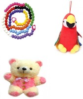 MEERAS Combo Of Parrot, Counting Beads And Teddy Bear For Kids  - 12 Inch (Multicolor)