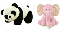 Deals India Deals India Panda Soft Toy (26 Cm) And Pink Sitting Elephant (25 Cm) Combo  - 26 Cm (Multicolor)
