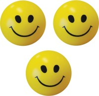 Bgroovy Smiley Face Squeeze Stress Ball - Set Of 3  - 3 Inch (Yellow)