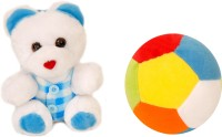 Lehar Toys Teddy And Ball  - 12 Cm (Blue)