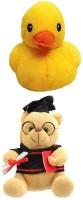 VRV Soft Musical Scholar Teddy Bear And Musical Hangable Duck 20cm  - 20 Cm (Yellow)