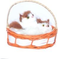 Ktkashish Toys Kashish White & Brown Laghing Brown & White Cat  - 4 Inch (White)