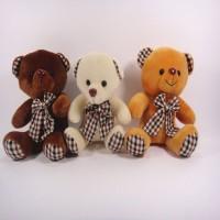 Meeras Checks Tie Teddy Bear Set Of 3  - 8 Inch (Multicolor)