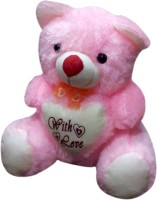 Green Apple With Love Teddy Bear  - 14 Inch (Pink)