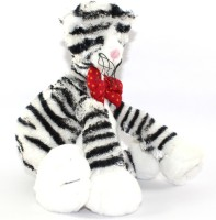 Play N Pets Fluffy Cat Wearing Bow  - 30 Cm (White, Black)