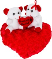 Glitters Valentines White Couple Teddy On Blooming Red Heart - 11 Inch (White, Red)