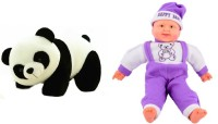 Deals India Deals India Panda Soft Toy (26 Cm) And Musical Happy Baby Boy Laughing(36 Cm) Combo  - 36 Cm (Multicolor)