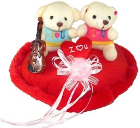 Tickles Cute Couple Teddy On Heart With Violen - 25 cm