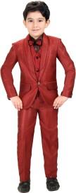 Kute Kids Coat Suit Set Self Design Boy's Suit