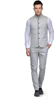 Platinum Studio Waistcoat And Trouser Set Solid Men's Suit - SUIE7NJV7HXHZDPH