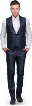 Platinum Studio Waistcoat And Trouser Set Solid Men's Suit