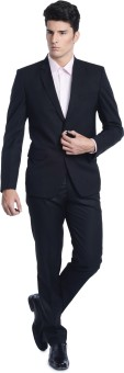 Luxurazi Classic Classic Black Solid Men's Suit